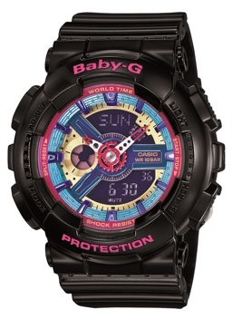 Casio Women's Baby-G Quartz 100M WR Shock Resistant Resin Color: Black with Multi Color Face (Model BA-112-1ACR)