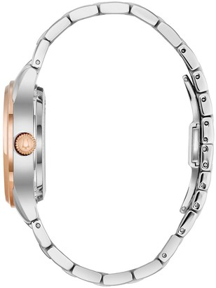 Bulova Classic Mother of Pearl and Diamond Rose Gold Skeleton Dial With Two Tone Stainless Steel Bracelet Ladies Watch