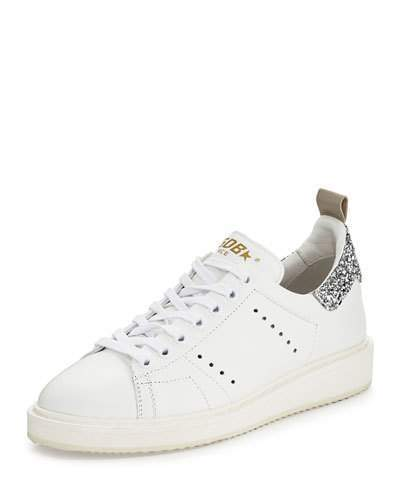 Golden Goose Starter Leather Low-Top Sneakers, White/Silver