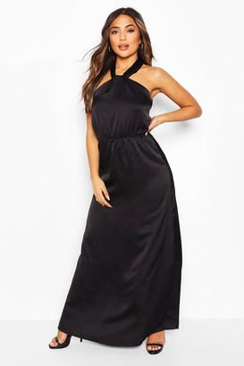 boohoo Petite Satin Halterneck Maxi Dress
