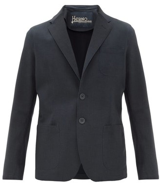 Herno Single-breasted Bonded-jersey Blazer - Navy
