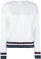 Victoria Beckham ribbed knitted detail blouse - women - Cotton/Polyamide/Spandex/Elastane/Viscose - 8