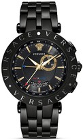 Versace V-Race GMT Alarm Stainless Steel and Black PVD Watch, 46mm