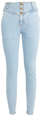 Alessandra Rich Crystal-Button High-Rise Jeans