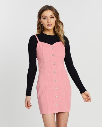Missguided Button-Through Sweetheart Cord Dress