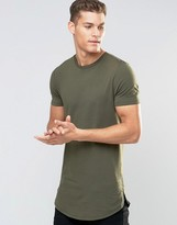 Asos Super Longline Muscle T-Shirt With Curved Hem And Zips In Khaki Green