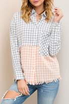 Entro Frayed Checkered Button Down