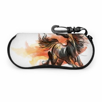 Aqqa Art Painting Traditional Horse Durable Eyeglass Case Fashion Sunglasses Case Light Portable Neoprene Zipper Soft Case Case For Sunglasses For Women