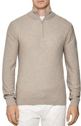 Reiss Noel Linear Stitch Partial Zip Pullover Sweater