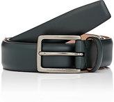 Ermenegildo Zegna Men's Leather Belt-DARK GREEN