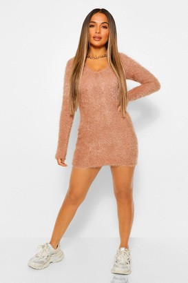 boohoo Petite Fluffy Knit V-Neck Dress