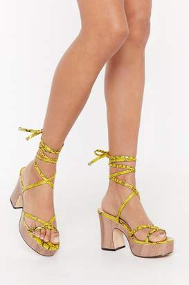 Nasty Gal Womens Snake You Hiss Me Lace-Up Wooden Heels - Yellow - 3, Yellow