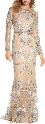 Mac Duggal Embellished Long Sleeve Lace Gown