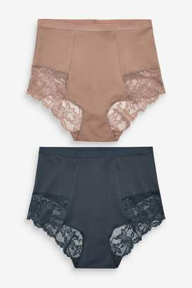 Next Womens Navy/Taupe Shaping Lace Back Knickers Two Pack - Blue