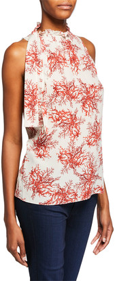 Kobi Halperin Maxi Coral-Print Mock-Neck Sleeveless Blouse
