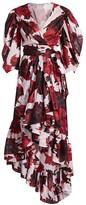Alexandre Vauthier Floral Puff-Sleeve Wrap Midi Dress