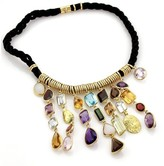 H.Stern 18K Yellow Gold Multi-Color Gems Dangling Pendants Cord Necklace