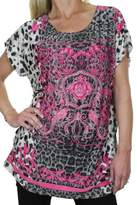 Ice 4035-1) Bling Animal Print Tunic Top Front Diamante Crest (Fits 4-12)