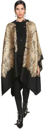 Etro LONG WOOL & LAME JACQUARD CAPE