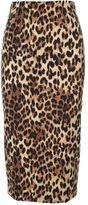 Alberto Biani Leopard-print Wool-blend Pencil Skirt