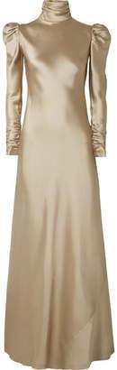 Zimmermann Satin-twill Maxi Dress - Shiny gold