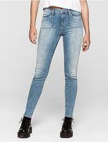 Calvin Klein Womens Skinny Light Blue Utility Jeans