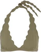 Marysia Swim Spring Scalloped Halterneck Bikini Top - Army green