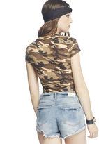 Wet Seal Camouflage Print V-Neck