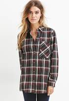 Forever 21 Abstract Print Plaid Shirt