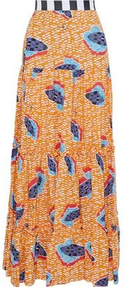 Stella Jean Gathered Printed Woven Maxi Skirt