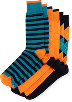 Neiman Marcus Three-Pair Sock Set, Blue/Turquoise/Orange