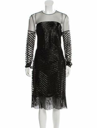Naeem Khan Embellished Knee-length Dress w/ Tags Black