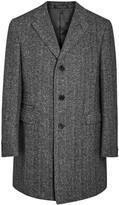 Corneliani Charcoal Herringbone Wool Blend Coat