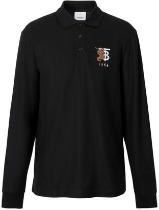 Burberry Contrast Logo Long-Sleeved Polo Shirt