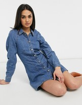 Thumbnail for your product : Lost Ink denim dress in vintage wash with gathered shoulders