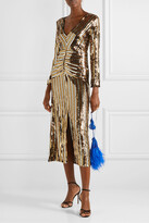 Thumbnail for your product : Rixo Emmy Striped Sequined Chiffon Midi Dress - Black