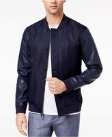 Ryan Seacrest Distinction Ryan Seacrest DistinctionTM Men's Slim-Fit Navy Herringbone Varsity Bomber Jacket, Created for Macy's
