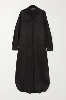 MATIN Linen-canvas Maxi Shirt Dress - Black