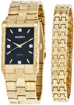 Elgin Mens Diamond-Accent Gold-Tone and Black Watch and Bracelet