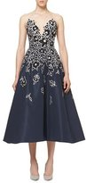 Carolina Herrera Floral-Embroidered Strapless A-Line Cocktail Dress, Indigo