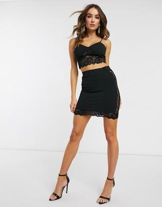 ASOS DESIGN lace insert mini skirt two-piece