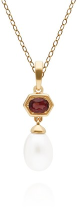 Gemondo Modern Pearl & Garnet Pendant In Yellow Gold Plated Silver
