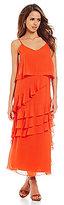 Gianni Bini Beau Chiffon Asymmetrical Ruffle Trim Maxi Dress
