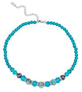"2028 Silver Tone Aqua Pink Floral Beaded Necklace 15"" Adjustable"