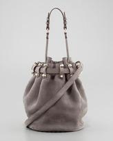 Alexander Wang Diego Stud-Bottom Nubuck Bucket Bag, Gray/Pale Gold