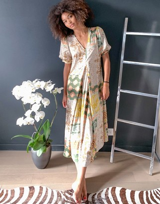 Y.A.S maxi dress with v neck and puff sleeves in mixed scarf print