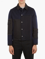 Valentino Navy Panelled Felt Jacket