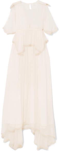 Chloé Pompom-trimmed Silk-crepon Peplum Gown - Cream