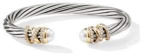David Yurman Helena 18K Yellow Gold, Pave Diamond& Pearl Twisted Cable Bracelet