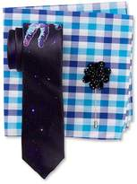 Original Penguin Spaceman Print Tie, Check Pocket Square, & Dot Lapel Pin Box Set